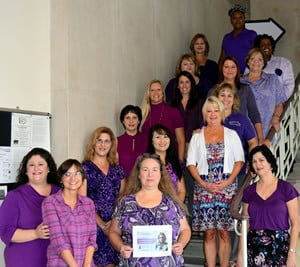 The Franklin Clerk office goes purple to raise awareness and support for Domestic Violence.